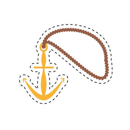 navy pier: anchor rope maritime nautical cut line vector illustration eps 10