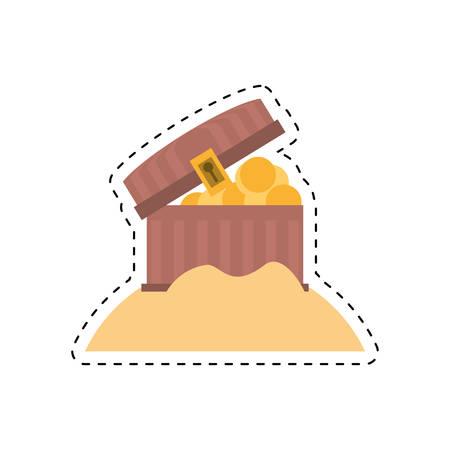 chest pirate wooden golden treasure sand cut line vector illustration eps 10 Illustration