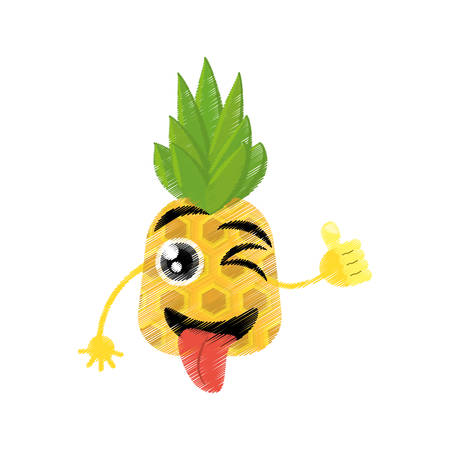 pineapple expressions silly face icon, vector illustration