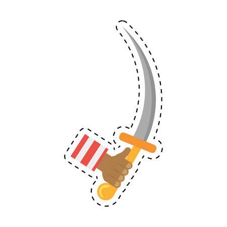 hand hold pirate saber steel cutlass cut line vector illustration eps 10