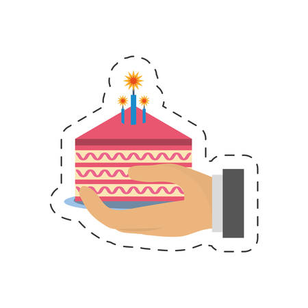 party piece cake in hand icon image, vector illustration design