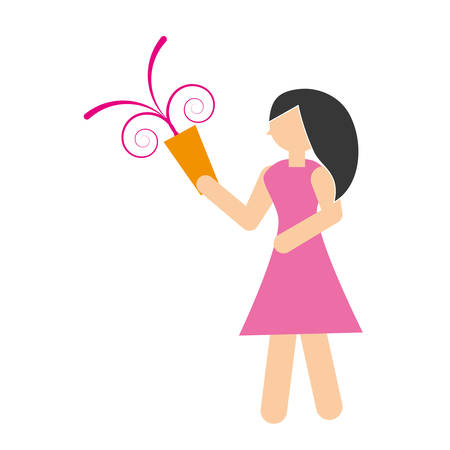 woman with party horn icon, vector illustration image Illustration