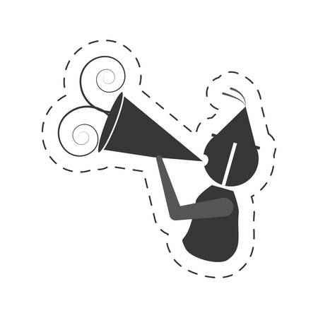 sound box: man with party megaphone icon, vector illustration