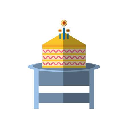 trozo de pastel: party piece cake table icon image, vector illustration design
