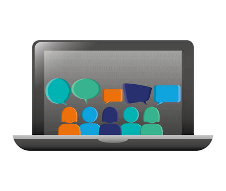 computer with bubbles inside icon, vector illustration image 矢量图像