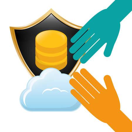 shield distributed data center icon, vector illustration Illustration