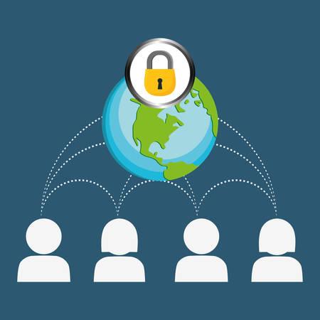 globe lock connections network image design, vector illustration