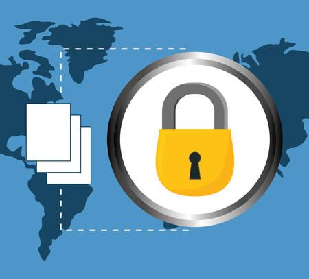 lock documents data center related icon, vector illustration Illustration