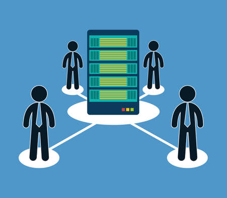 per: database optimization people hosting icon, vector illustration image
