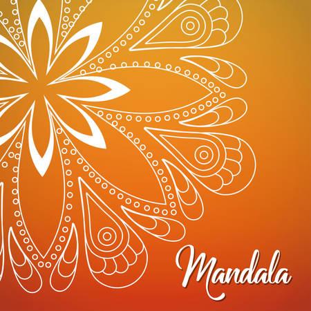flower shape white line mandala over ombre background  image vector illustration design