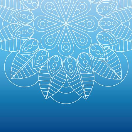 ombre: flower shape white line mandala over ombre background  image vector illustration design