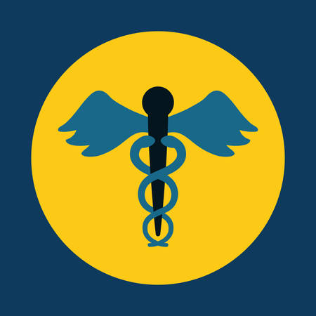 asclepius rod medical care icon image vector illustration design