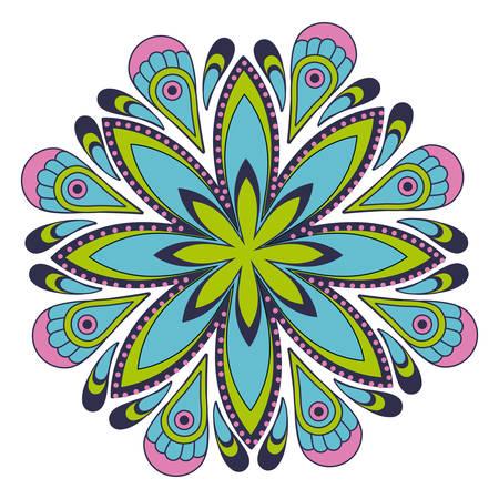 colorful flower shape mandala over white background icon image vector illustration design Illustration