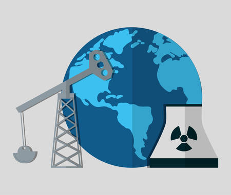 oil drill nuclear plant energy or electricity sources icon image vector illustration design
