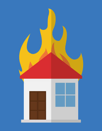 house on fire icon image vector illustration design