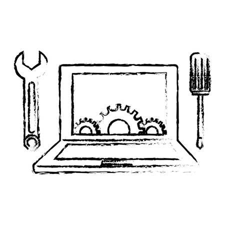 computer repair: Technical repair of computer icon image vector illustration design