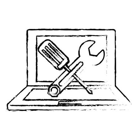 computer repairing: technical repair of computer icon image vector illustration design Illustration