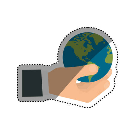 hand holding globe: World earth isolated icon vector illustration graphic design