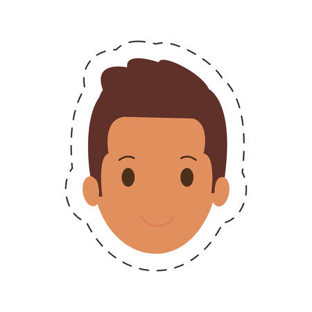 people casual man face icon, vector illustration