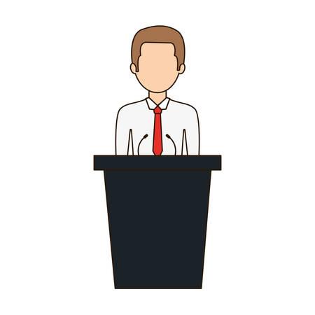 questioning: dais man speak icon, vector illustration image