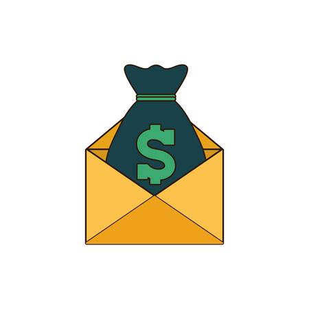 moneybag with envelope icon image, vector illustration design Illustration
