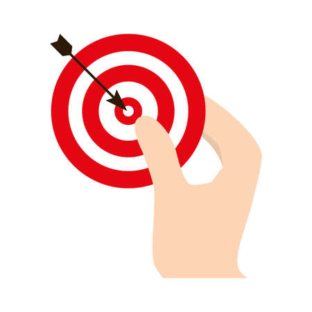 companionship: dartboard related in the hand icon image, vector illustration design