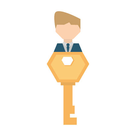 company merger: businessman work key related icon, vector illustration design