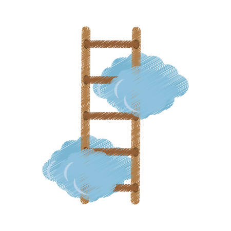 Clouds with ladder icon image, vector illustration design