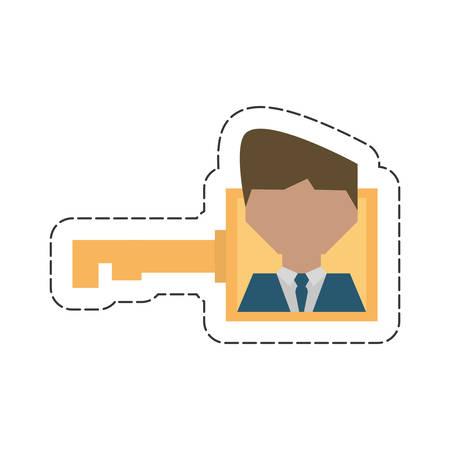 businessman work key related icon, vector illustration design