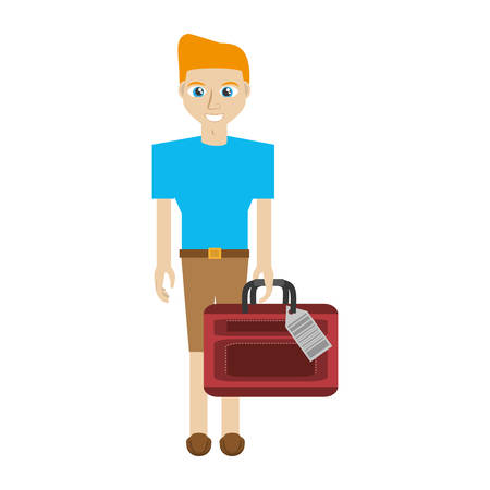 man with travel bag icon, vector illustration image