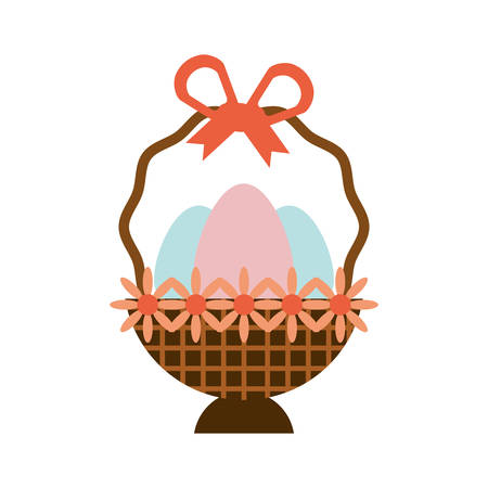wroclaw: eggs easter inside basket icon, vector illustration design