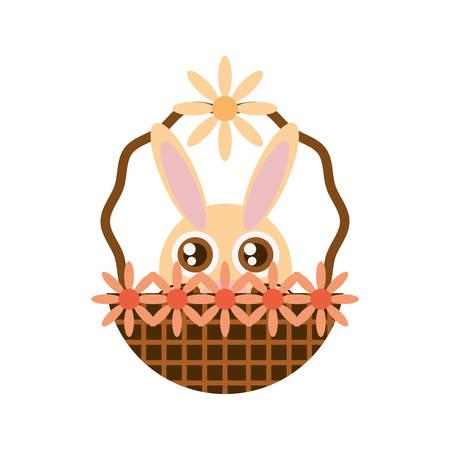 easter cross: Easter rabbit inside basket icon, vector illustration design