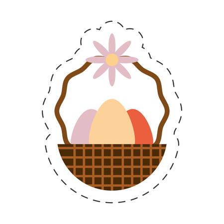 ordain: eggs easter inside basket icon, vector illustration design
