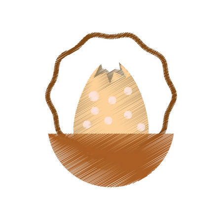 egg easter inside basket icon, vector illustration design