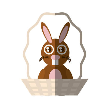 holy book: Easter rabbit inside basket icon, vector illustration design