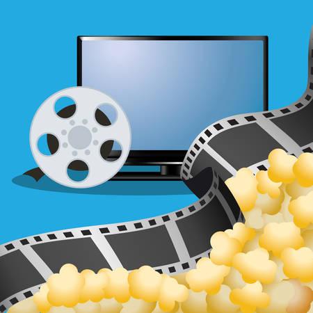 cinematograph: cinema tv film reel with pop corn poster vector illustration eps 10