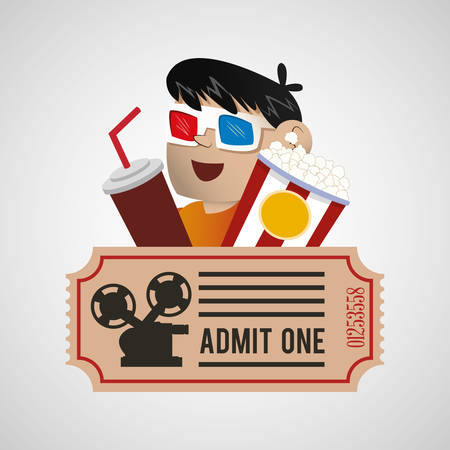 moviehouse: cinema 3d boy soda pop corn ticket poster vector illustration eps 10 Illustration