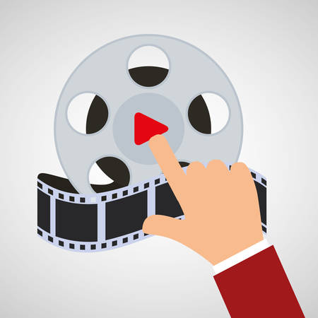 hand touch cinema reel film vector illustration eps 10