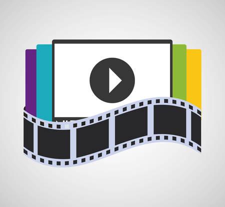 dvd room: television screen home cinema vector illustration eps 10