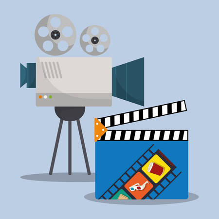 cinema camera film clapper director vector illustration eps 10