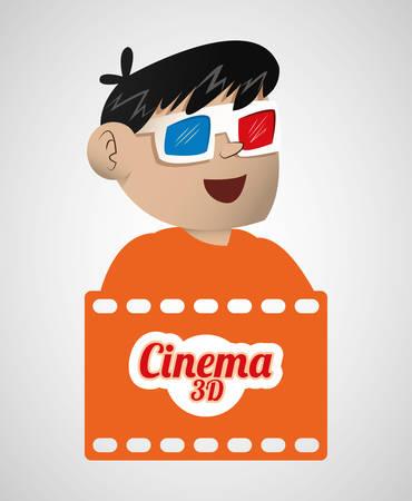 boy cinema 3d glasses banner vector illustration eps 10 Illustration