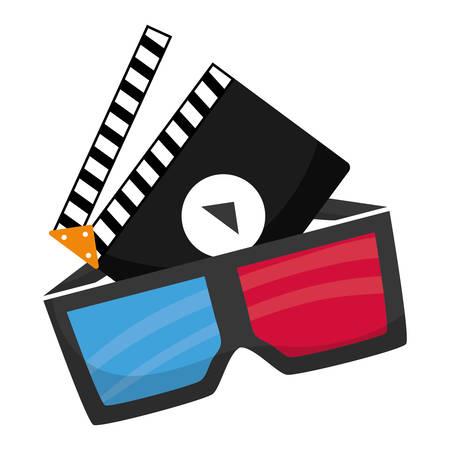 cinema 3d glasses clapperboard vector illustration eps 10