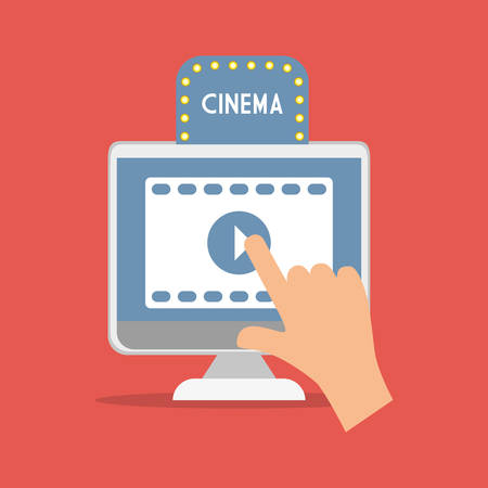 flatscreen: cinema movie computer digital concept vector illustration eps 10