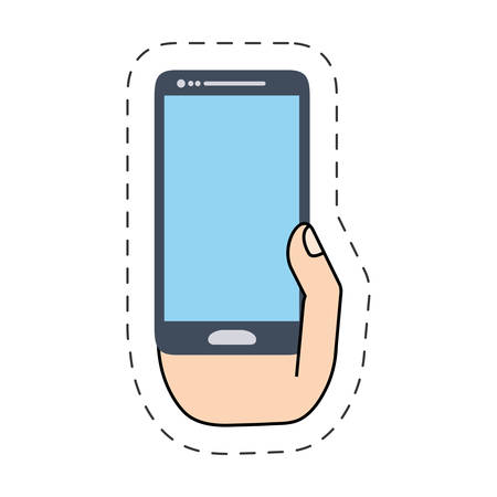 cut line: hand holding smartphone screen -cut line vector illustration eps 10