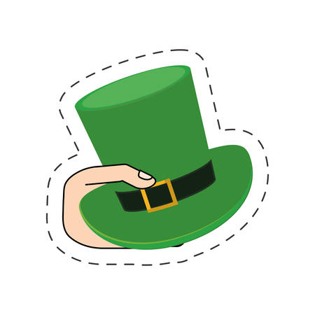 saint patrick day hand with hat cut line vector illustration eps 10