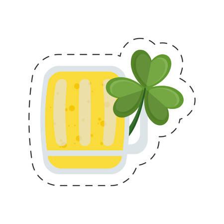 saint patrick day glass beer clover cut line vector illustration eps 10