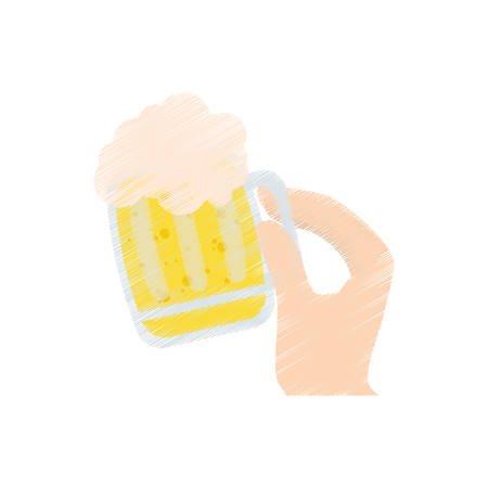 drawing hand holding saint patrick day glass beer vector illustration eps 10