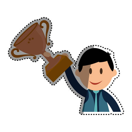 colourful tie: Businessman entrepreneur cartoon icon vector illustration graphic design