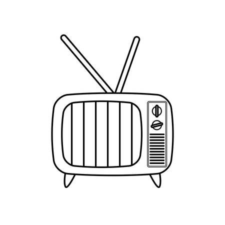 ビンテージ テレビ デバイス アイコン ベクトル イラスト グラフィック デザイン
