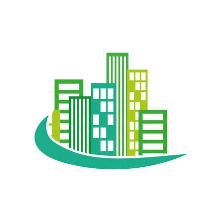 edificios de la ciudad icono símbolo ilustración vectorial diseño gráfico